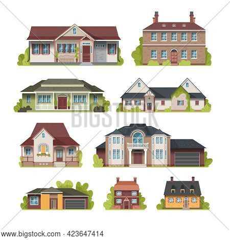 Set Of Facades Of Suburban Country Houses Front View Flat Vector Illustration