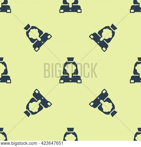 Blue Cleaning Lady Service Icon Isolated Seamless Pattern On Yellow Background. Vector