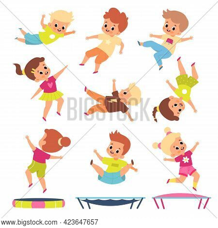 Children Jumping On Trampolines. Cartoon Boys And Girls In Different Flying Poses. Kids Bounce And P