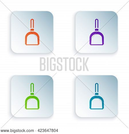 Color Dustpan Icon Isolated On White Background. Cleaning Scoop Services. Set Colorful Icons In Squa