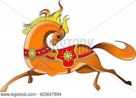 Beautiful Orange Horse. Running Horse. Vector And Illustration