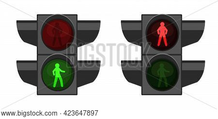 Pedestrian Traffic Light. Realistic Crosswalk Regulation Equipment. Road Crossing. 3d Street Device