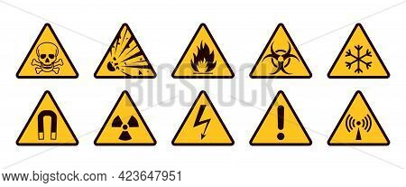 Warning Signs. Realistic Caution Icons. Yellow And Black Stickers Set. Danger Of Radiation Or Electr