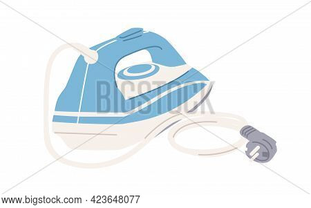 Back View Of Steam Iron Press With Cord And Plug Isolated On White Background. Domestic Housekeeping
