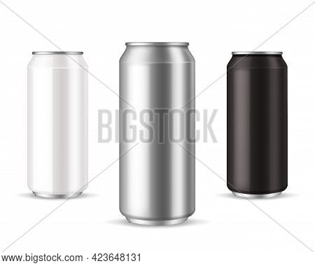 Cans Metallic. Realistic Aluminum Can Collection. White Silver And Black Blank Packaging Template Fo