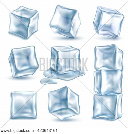 Cubes Ice. 3d Ice Piece Different Angles For Cold Drinks, Transparent Frozen And Melted Clear Water