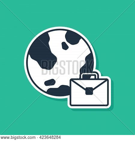 Blue Online Working Icon Isolated On Green Background. Freelancer Man Working On Laptop At His House