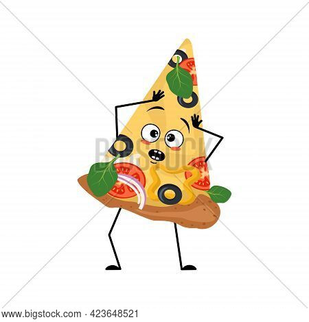 Cute Pizza Character With Emotions In A Panic Grabs His Head, Face, Arms And Legs. The Funny Or Sad