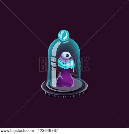 Unusual Fantasy Live Mushroom With Eye Under Glass Cap A Vector Illustration