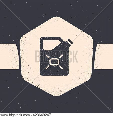 Grunge Canister For Flammable Liquids Icon Isolated On Grey Background. Oil Or Biofuel, Explosive Ch