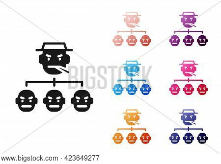 Black Mafia Icon Isolated On White Background. Boss And Gangsters. Set Icons Colorful. Vector