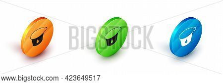 Isometric Yogurt Container Icon Isolated On White Background. Yogurt In Plastic Cup. Circle Button.