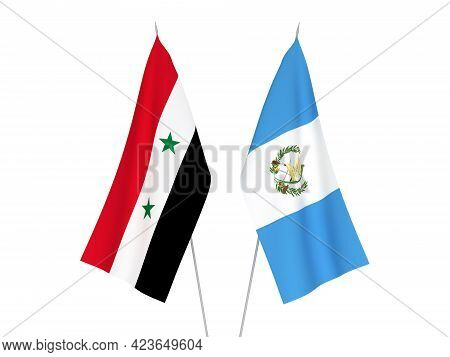 National Fabric Flags Of Republic Of Guatemala And Syria Isolated On White Background. 3d Rendering