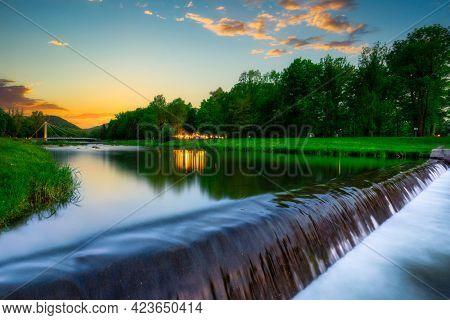 A beautiful sunset over the Vistula River in Ustron, Silesian Beskids. Poland