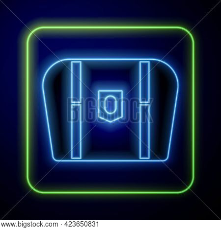 Glowing Neon Antique Treasure Chest Icon Isolated On Blue Background. Vintage Wooden Chest With Gold