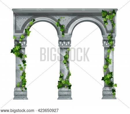 Marble Vector Arch Illustration, Stone Ancient Column Colonnade Isolated On White, Green Ivy Leaves.
