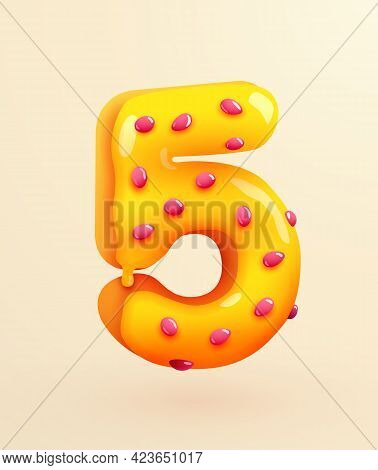 Glazed Donut Font. Number 5. Number Five Cake. Dessert Style. Collection Of Tasty Bakery Numbers Wit