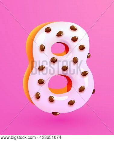 Glazed Donut Font. Number 8. Number Eight Cake. Dessert Style. Collection Of Tasty Bakery Numbers Wi