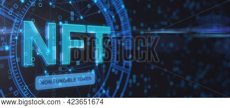 Non Fungible Tokenscrypto Art Concept With Abstract Technological Background With Copyspace And Glow