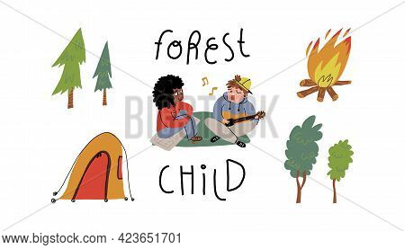 Camping elements set. Deciduous, coniferous trees shelter tent, bonfire. Guy singing and plays guitar for his girlfriend