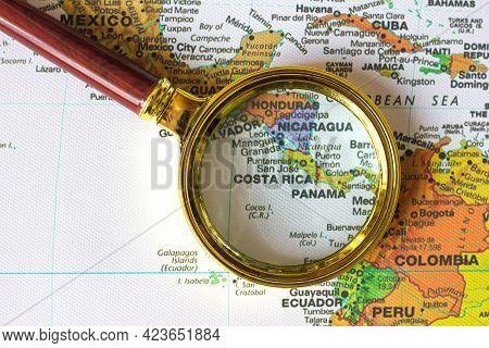 Lviv Ukraine-04 01 2021 :honduras, Nicaragua, Panama, Costa Rica  And Other Countries  On A Map Of