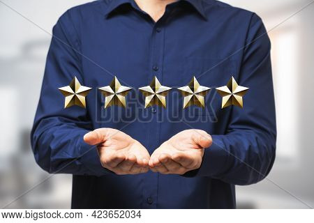 Excellent Business Service Rating Concept With Man In Blue Shirt With Open Palms And Digital Row Of