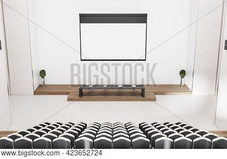 Contemporary Concrete Auditorium Interior With Empty Banner, Seatings And Daylight. Workshop Concept