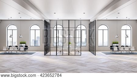 Panoramic View From Arched Windows In Sunny Open Space Office With Light Walls And Wooden Parquet Fl