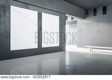 Modern Concrete Interior With Sunlight And Empty Wall Mockup Place. Exhibition, Art And Advertisemen