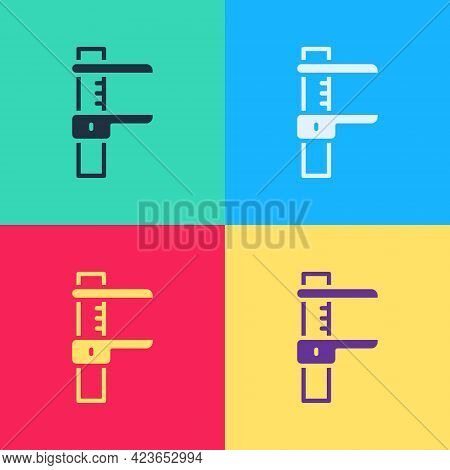 Pop Art Calliper Or Caliper And Scale Icon Isolated On Color Background. Precision Measuring Tools.