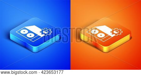 Isometric Case Of Computer Setting Icon Isolated On Blue And Orange Background. Computer Server. Wor