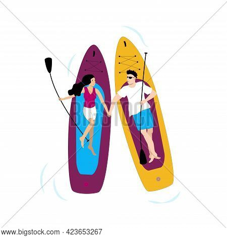 Young Couple Man And Woman Lying On Paddle Boards And Holding Their Hands. Romantic Scene Illustrati