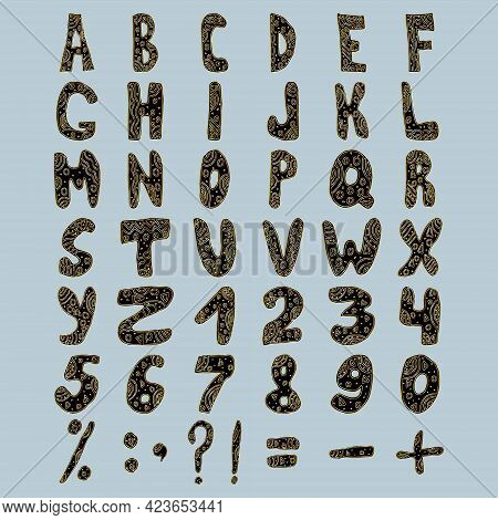 Gold Retro Font. Openwork Alphabet, Letter Typography. Gold And Black Vector Illustration Set In Doo