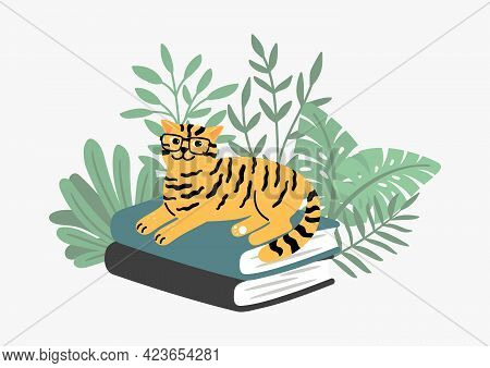 Clever Cat On Book Stack. Tiger Color Kitten In Plants, School Time Or Education Concept. Pet, Wild