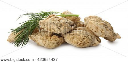 Dehydrated Soy Meat Chunks With Dill On White Background