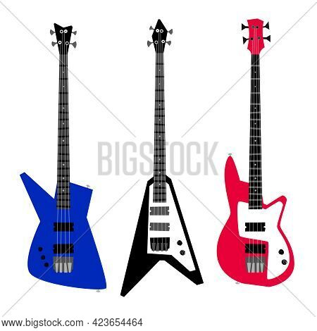 Electric Guitar Set. Cartoon Musical Instruments For Playing Rock And Metal Songs On Concert, Vector