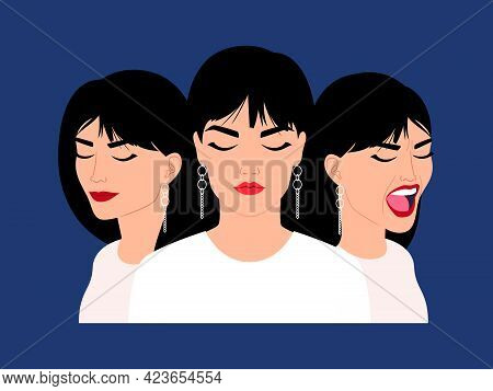 Female Heads With Diversity Emotions. Cartoon Woman Faces With Variety Of Facial Feelings, Vector Il