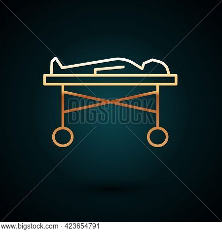 Gold Line Dead Body In The Morgue Icon Isolated On Dark Blue Background. Vector