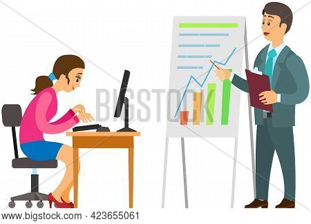 Female Character Working At Computer And Doing Tasks On Time. Boss Makes Presentation Of Statistics.