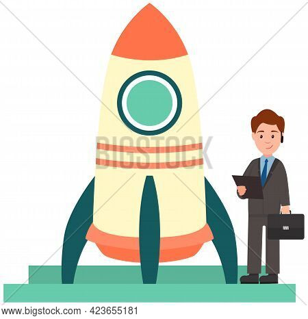 Preparation Of Rocket For Launch. Man Works With Business Startup. Businessman Launching Project, St