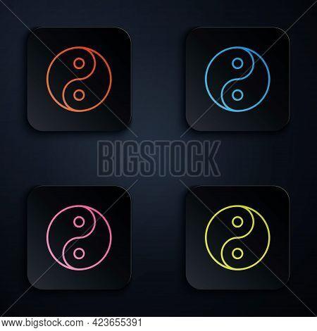Color Neon Line Yin Yang Symbol Of Harmony And Balance Icon Isolated On Black Background. Set Icons