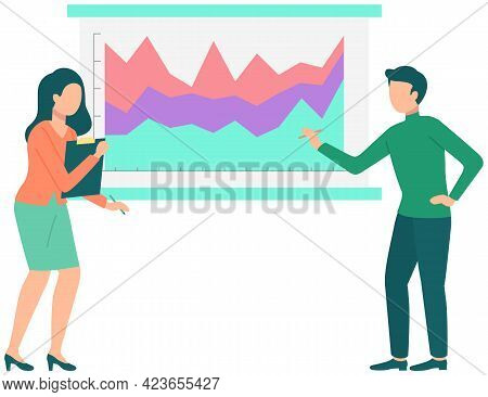 Couple Discussing Financial Data. Man And Woman Brainstorming Statistical Diagrams And Graphs. Prese
