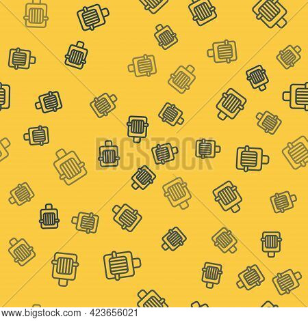 Blue Line Pet Carry Case Icon Isolated Seamless Pattern On Yellow Background. Carrier For Animals, D