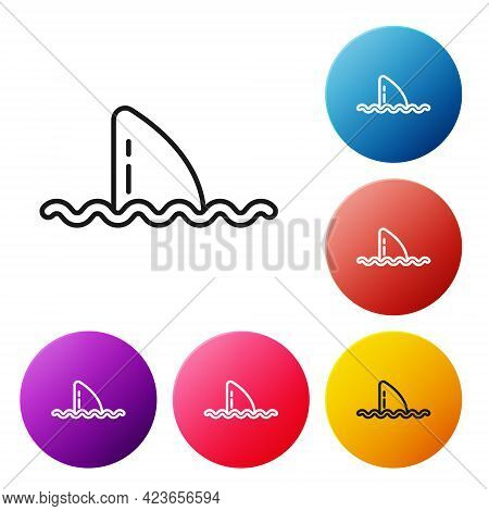 Black Line Shark Fin In Ocean Wave Icon Isolated On White Background. Set Icons Colorful Circle Butt