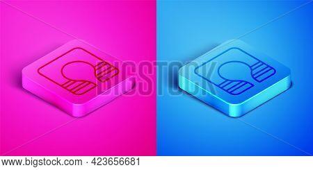 Isometric Line Life Jacket Icon Isolated On Pink And Blue Background. Life Vest Icon. Extreme Sport.