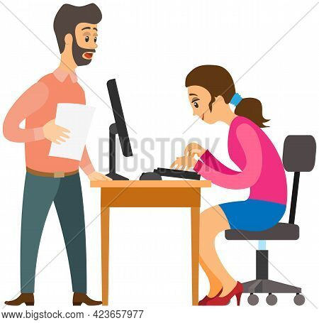 Female Character Working At Computer And Doing Tasks To Finish On Time. Boss Is Talking To Employee