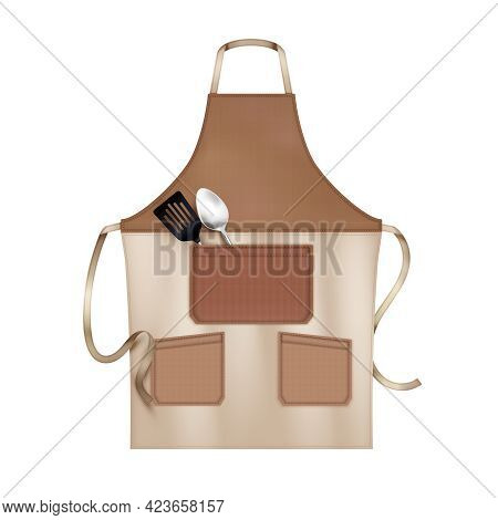 Linen Kitchen Cooking Chef Apron Brown Beige With 3 Pockets Accessorized With Lapels Realistic Close