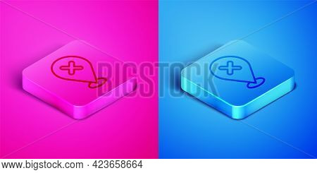 Isometric Line Map Pin With Cross Mark Icon Isolated On Pink And Blue Background. Navigation, Pointe