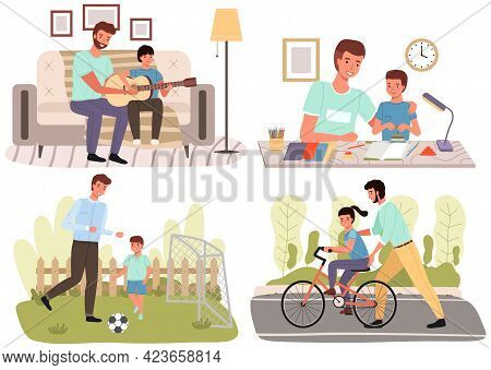 Set Of Illustrtion About Time Spent By Children And Fathers. Holidays With Dad In Nature Or At Home.