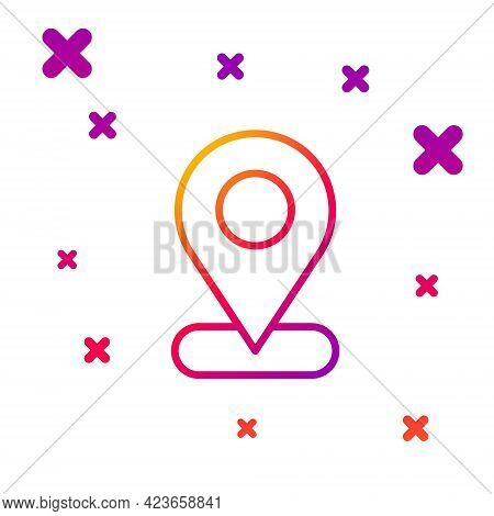Color Line Map Pin Icon Isolated On White Background. Navigation, Pointer, Location, Map, Gps, Direc